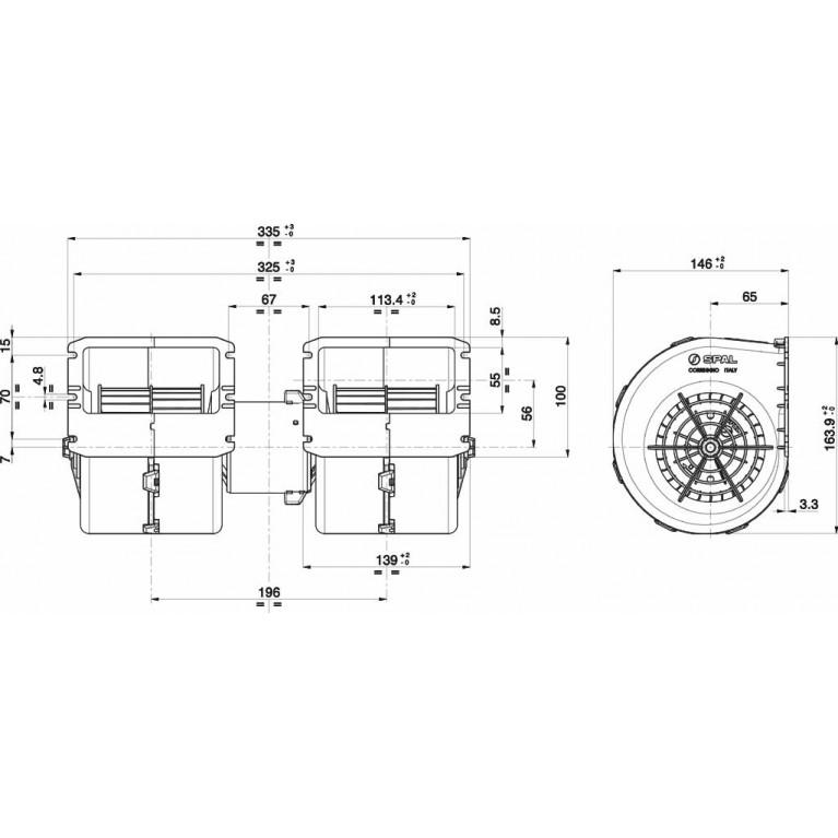 Мотор отопителя салона, центробежный двойной 24V для МАЗ, ПАЗ, ЛИАЗ, 009-B40/T/IE-22 24V GRPWM2 009B40/T/IE2224VGRPWM2 SPAL 009B40/T/IE2224VGRPWM2