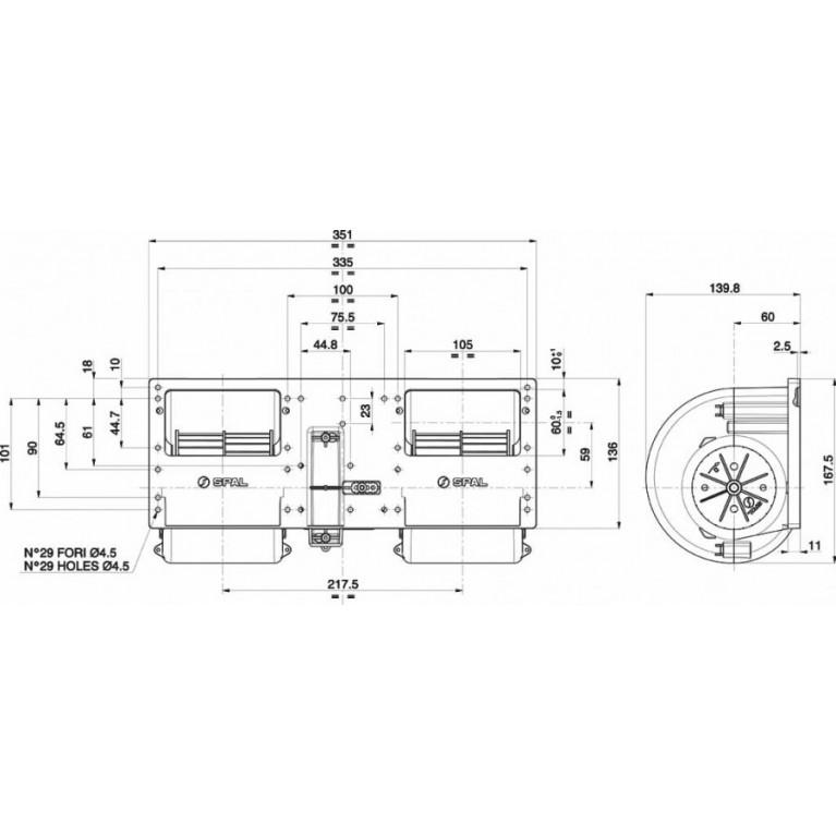 Вентилятор отопителя центробежный двойной 3х скоростной с резистором без колодки SPAL 24V SPAL