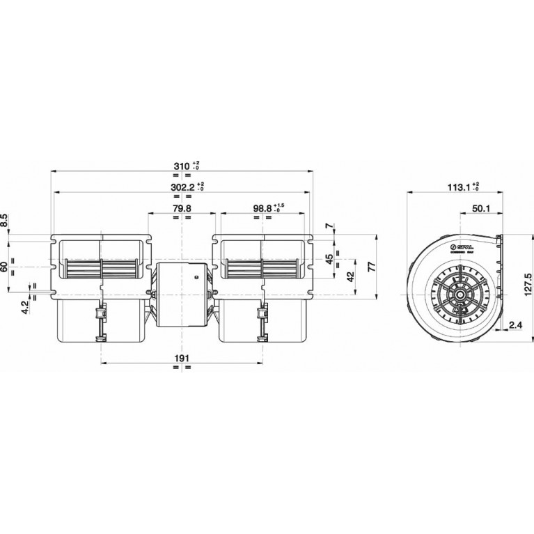 Мотор отопителя салона, центробежный двойной, 24V 008-B45/2C-02 008B452C02 SPAL 008B452C02