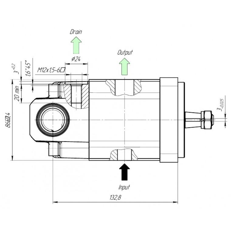 Гидромотор в сборе с клапаном 24V 20R22X021MAV-C24 аналог 0511725028, 0511725021, 81.06660.6058, 81066606058, Q20A22X021MA, 20R220X021MA-B Hydro-pack