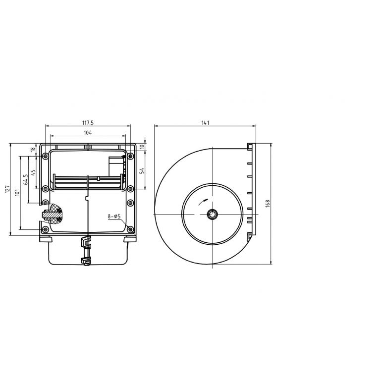 Вентилятор отопителя центробежный одиночный 3-х скоростной с резистором (аналог SPAL) 24V 04-8710 / 010-B70-74D24VGRRPA3VCB / 010-B70-74D 010B7074D