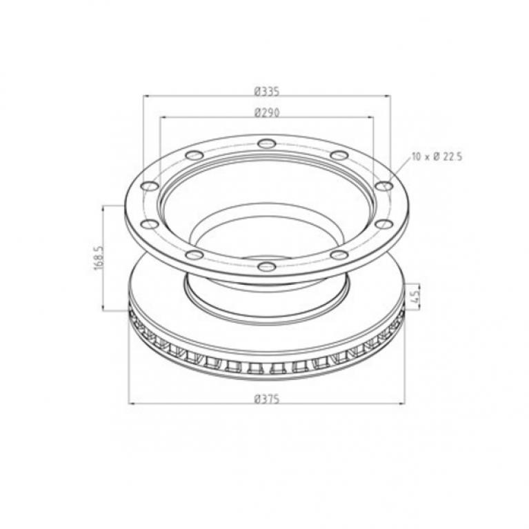 Тормозной диск вентилируемый 375/335x45/168.5 10n SCHMITZ CARGOBULL 296.00500A