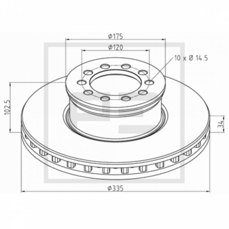 Тормозной диск 335/91.5x34/102.5 10n-120-M14 MB Atego 712-1528 016.66200A
