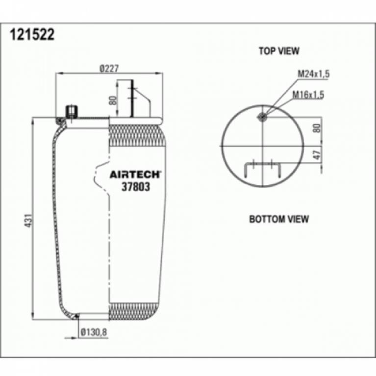 Пневмобаллон без стакана Volvo FM/FH/FL 16 1шп-шт.M16/M24 смещ.80+кроншт.4отв.D15 Н:отв.D130.8 37803P 37803P