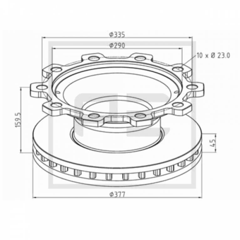 Тормозной диск 377/290x45/160,10n,с ABS BPW SKH,SB3745/KNORR SB6 046.37300A