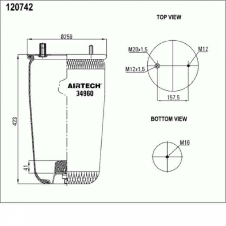 Пневмобаллон BPW без стакана h423 1шп.M12. 1шп-штуц.M12-M20. Н:1отв.шп.M16 34960P