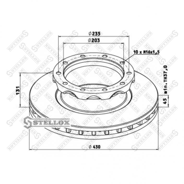 Тормозной диск 430/203x45/131 n10-235-M16x1.5 Neoplan