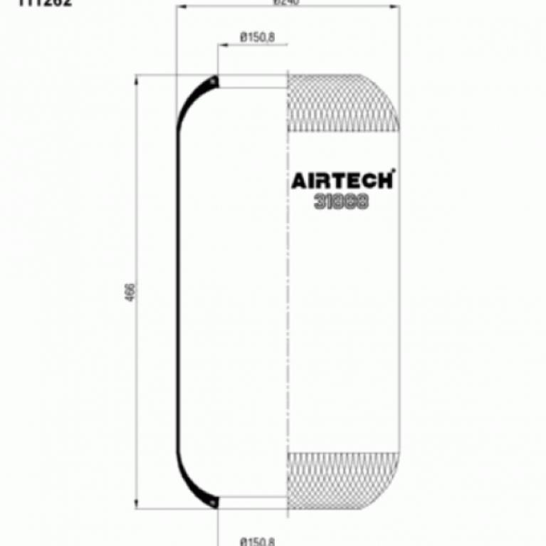 Пневмоподушка цилиндрическая 466-240-150/150 для МАН ТГА 31888 31888