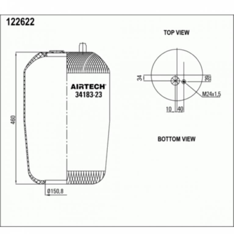 Пневмоподушка для MB Actros без стакана 1шт-шп.М24 смещ.40 Н: D150.8 3418323P