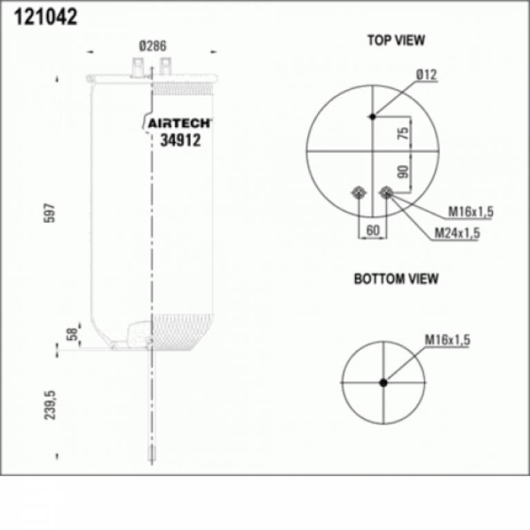 Пневморессора без стакана Рено премиум 1шп.d12 1отв.шт.M16 1шп-штуц.M12/M24 1шп.M16 34912P 34912P