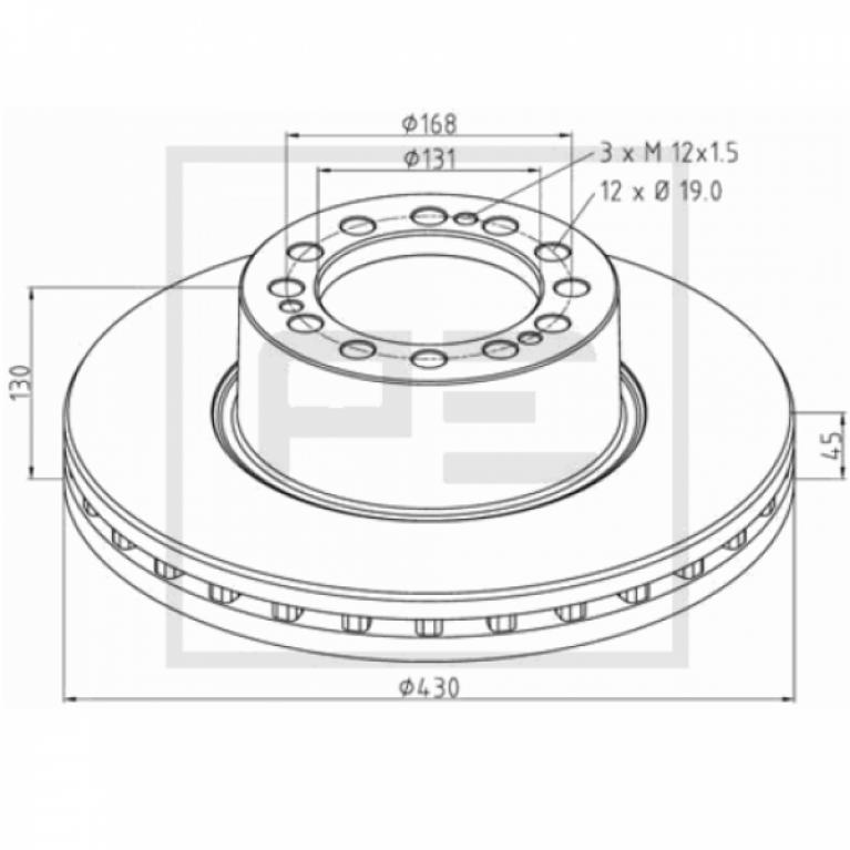 Тормозной диск вентилируемый для прицепа 430/131x45/130 12n-168-d19 SAF SK RB 9022 PE
