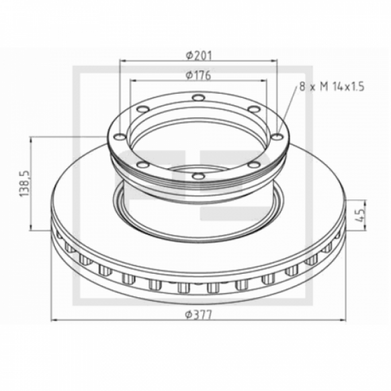 Тормозной диск задний 377/176x45/138 8n-201-M14x1.5 MB Атего 016.66600A PE