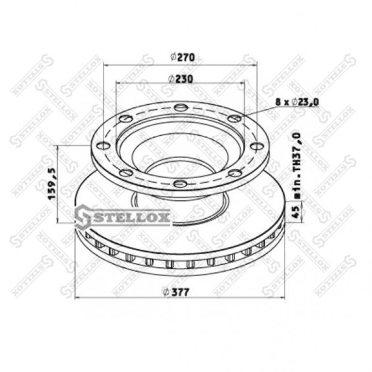 Тормозной диск 377/230x45/159.5 8n-275-23 BPW SB3745 8500804SX