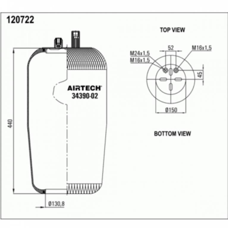 Пневмоподушка МВ Актрос/Аксор без стакана 2шп-шт.M16+M16/24 смещ.26 Н:отв.D130.8 3439002P