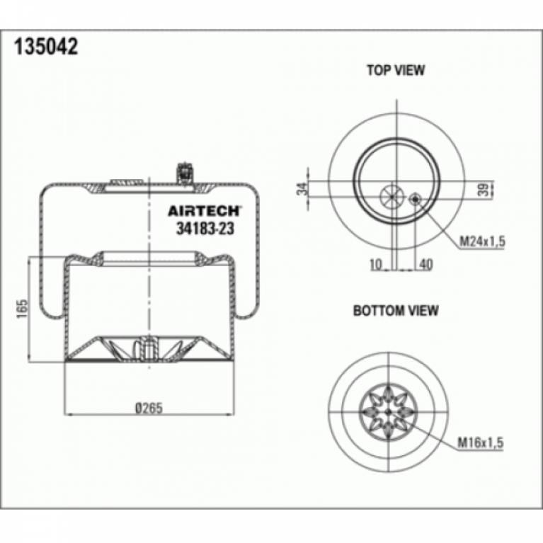 Пневмоподушка со стаканом MB Actros 1шт-шп.М24 смещ.40 Поршень сталь 1отв.М16 3418323K