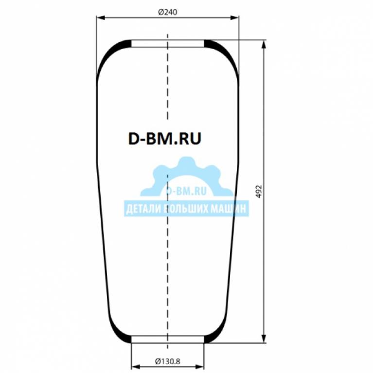 Пневмоподушка конус 492-240-130.8/130.8 подъем оси Volvo F12 FM7 FM10 FM12 FH12 FH16 FL6 FL7 FL10 FL 12 F10 F 16 3713 3713