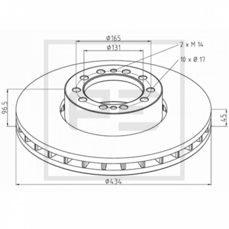 Тормозной диск передний 434/131x45/96.5 Renault MAGNUM/PREMIUM 256.02800A PE 256.02800A