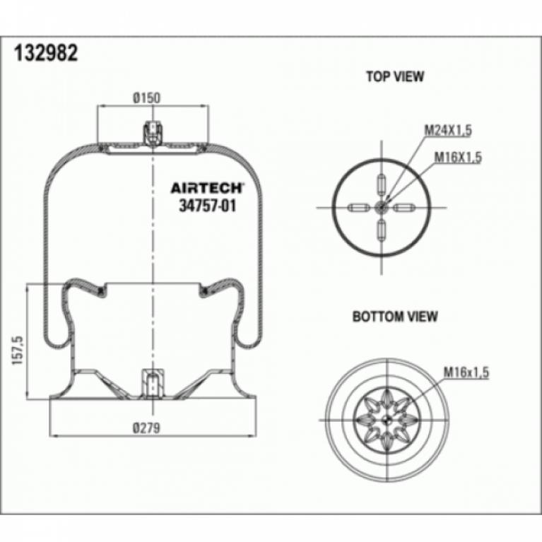 Пневморессора со стаканом MB Actros Axor 1шп-шт.M24 Поршень сталь 1отв.M16 3475701K