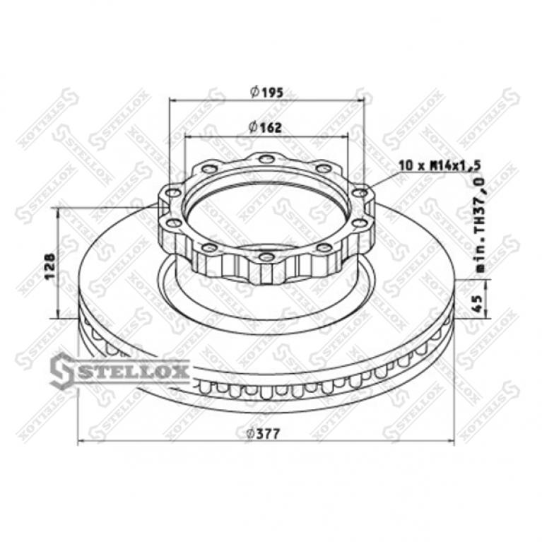 Тормозной диск для MAN L2000 377/162x45/128 10nxM14x1.5 TECHNO BRAKE