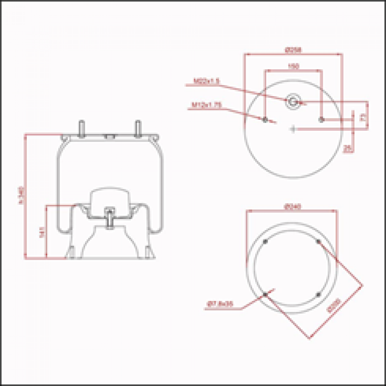 Пневмоподушка со стаканом ( 4022NP03 ) (2 шп.+возд. 4 отв.) ED 14022-KP TRUCKEXPERT