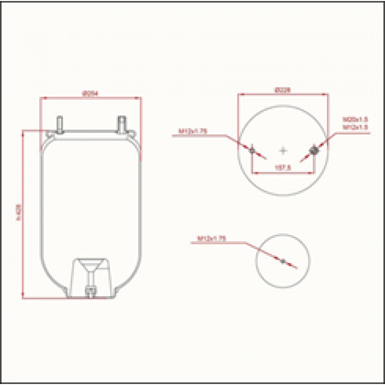 Пневморессора FRUEHAUF (без стакана) (1 шп.M12,1 шп.-штуц. M12/20х1.5мм) ED 14156 TRUCKEXPERT