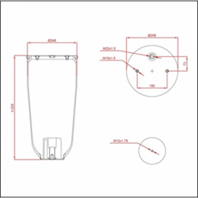 Пневморессора SCHMITZ (без стакана) (2 отв. M10, 1 отв. M22х1.5,низ отв. M12мм) высокая ED 14158 TRUCKEXPERT