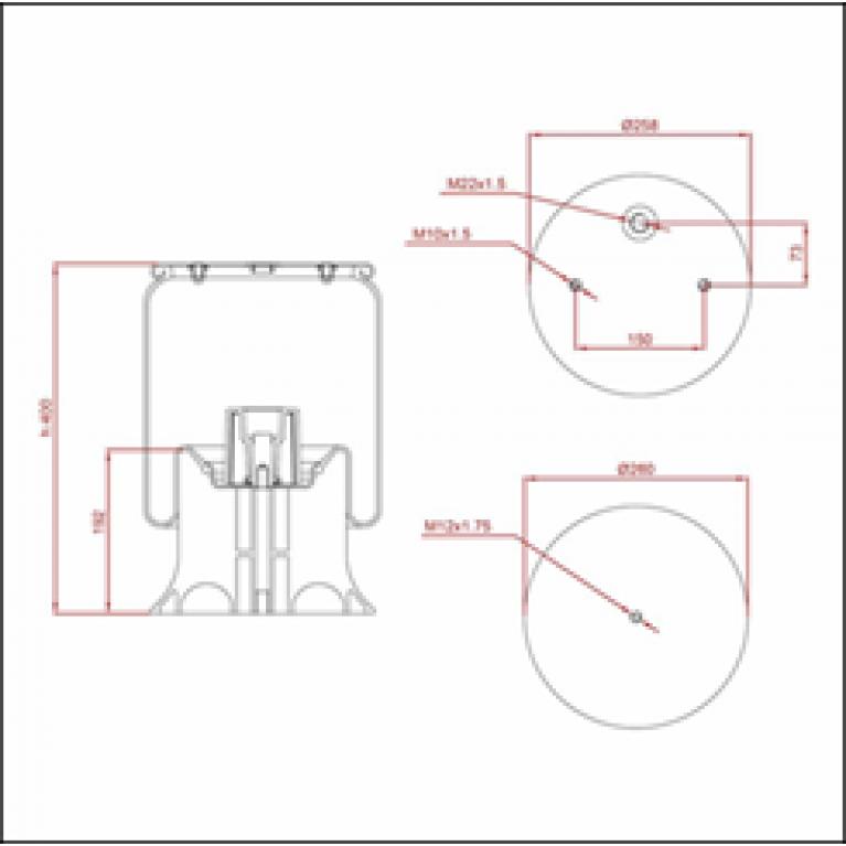 Пневморессора SCHMITZ (пластиковый стакан) (2отв.M10, 1отв.M22х1.5мм) высокая ED 14158-KP TRUCKEXPERT