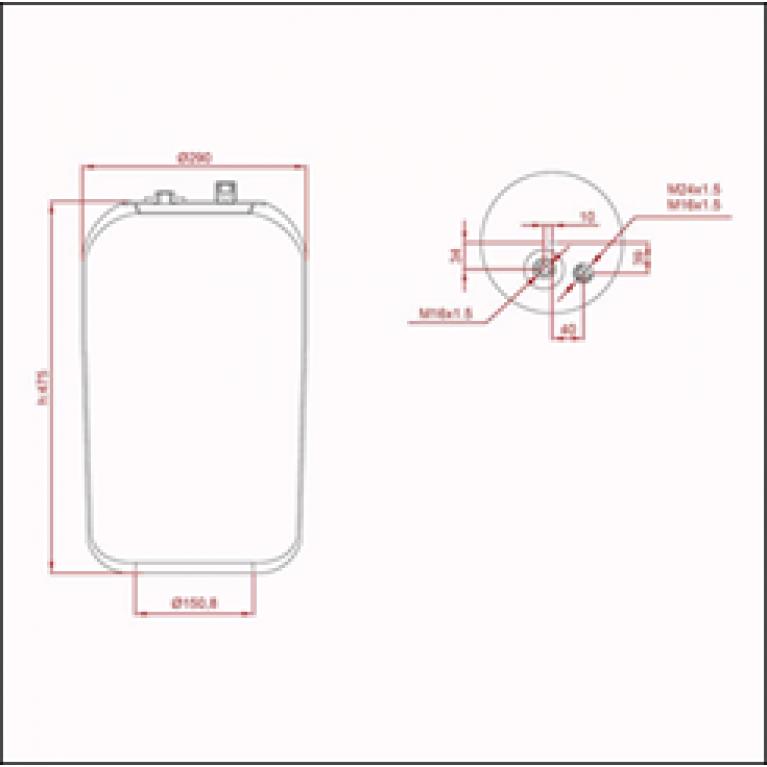 Пневморессора MERCEDES Actros (без стакана) (1 шп.-штуц.M16х1.5мм,1 шп.-штуц. M16/24х1.5мм) ED 14183-02 TRUCKEXPERT