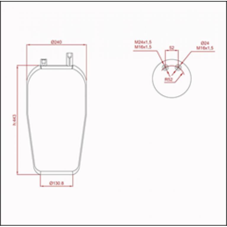 Пневморессора MERCEDES Actros (без стакана,2 штуцера) ED 14390-02 TRUCKEXPERT