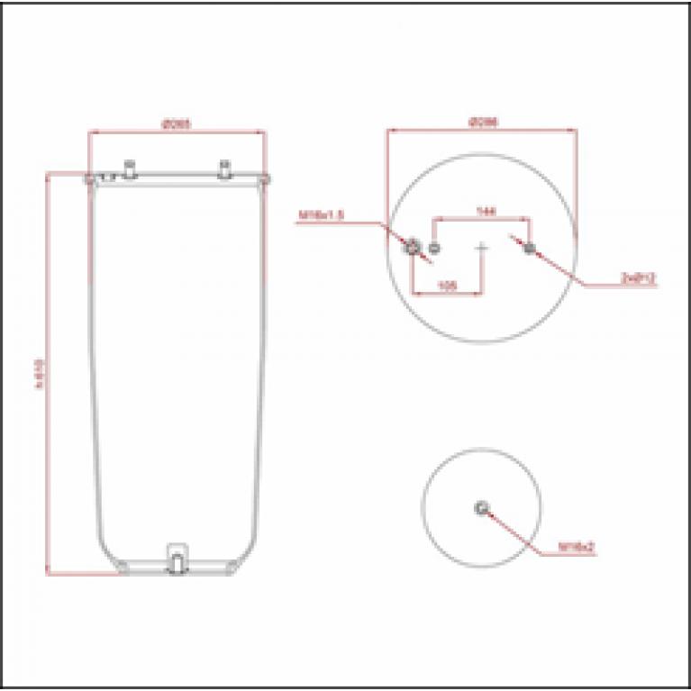 Пневморессора SCANIA 4 series (без стакана) (2 штыря D=12мм,1отв.М16х1.5мм) ED 14913 TRUCKEXPERT