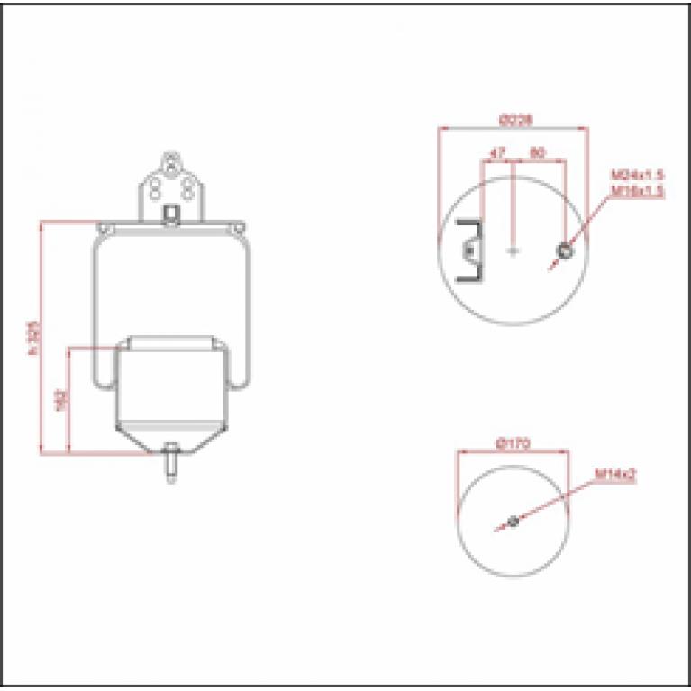 Пневморессора SCANIA (пластиковый стакан) (2 шп. M12,1 отв.штуц. M16х1.5мм) ED 16416-K TRUCKEXPERT