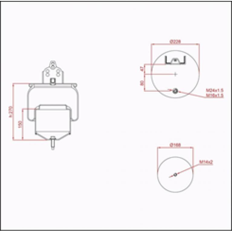 Пневморессора VOLVO (металлический стакан) (1 шп. M14,1 шп. M16/24х1.5мм) ED 16418-K TRUCKEXPERT