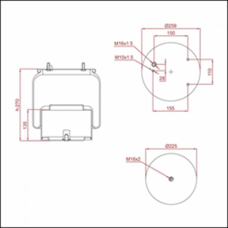 Пневморессора DAF 95 (со стаканом) (3 шп. М10х15мм, 1 отв. M16х1.5мм с отбойником) ED 1836-K01 TRUCKEXPERT