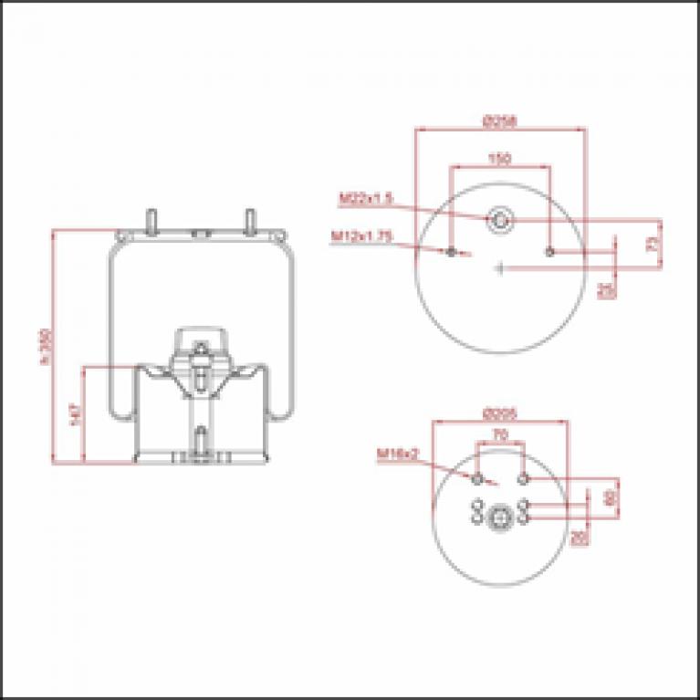 Пневморессора BPW (металлический стакан) (2 шп. M12 смещены,1 отв. штуц. M22х1.5мм) ED 1940-K TRUCKEXPERT