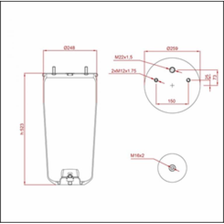 Пневморессора BPW (без стакана,2 шп. M12 смещены,1 отв.штуц. M22х1.5мм) ED 1941 TRUCKEXPERT