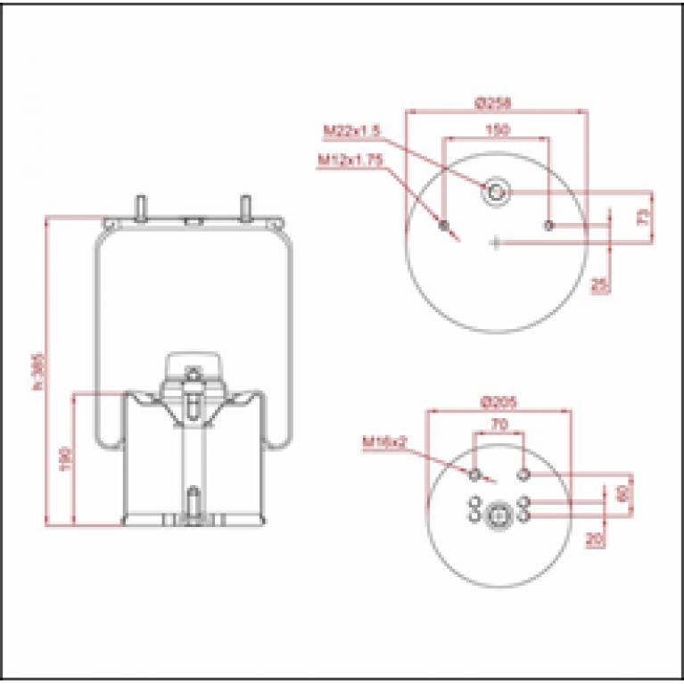 Пневморессора BPW (с металлическим стаканом,2шп.M12 смещены,1отв.штуц.M22х1.5мм) ED 1941-K TRUCKEXPERT