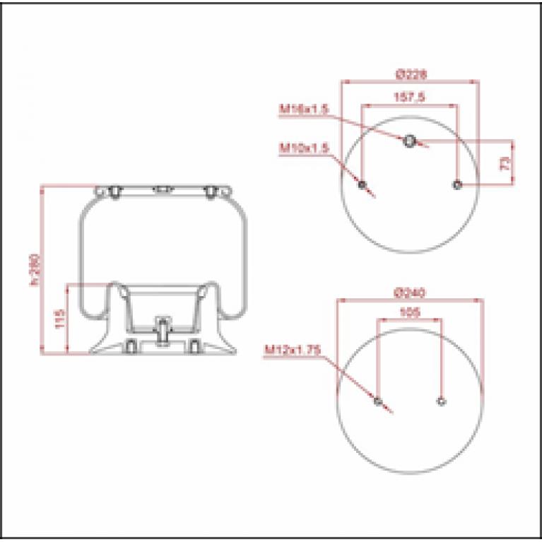 Пневморессора SCANIA (пластиковый стакан) (подвесная ось,2 отв. M12 1 отв. шт. М16) ED 196251-KP