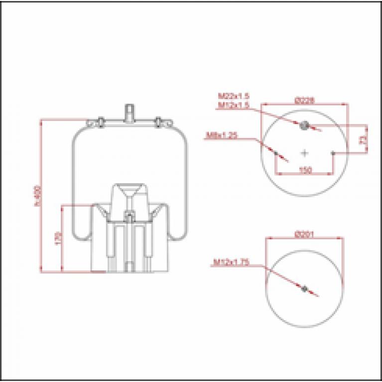 Пневморессора SCHMITZ (пластиковый стакан) (2 отв. M10+штуцер M22х1.5мм) высокая ED 196318-KP TRUCKEXPERT