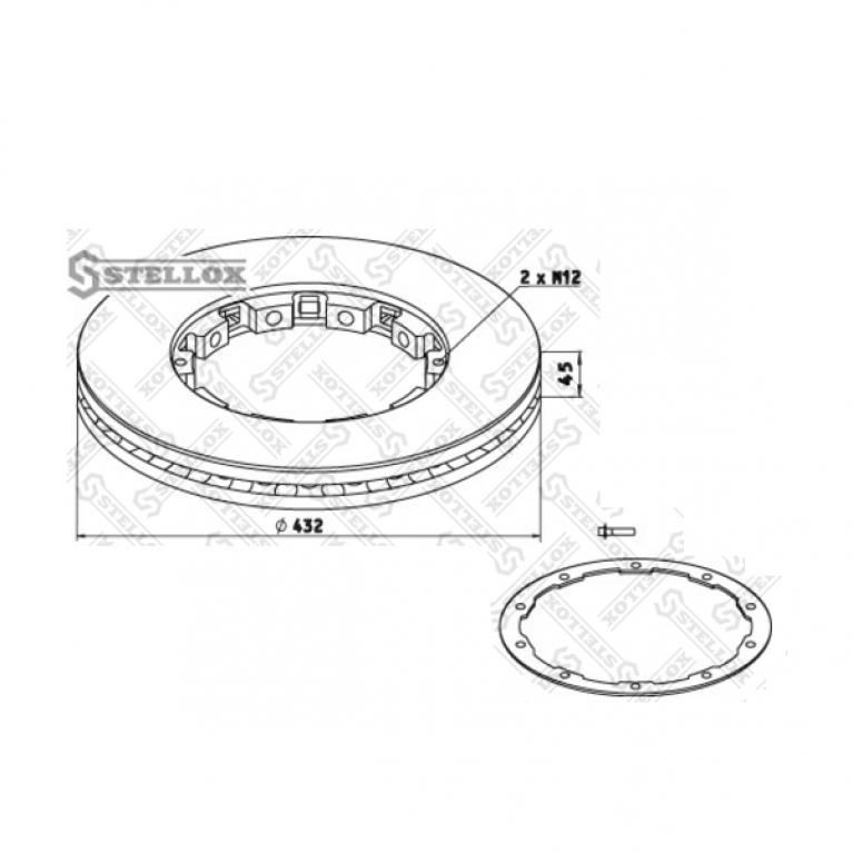 Тормозной диск DAF с установочным комплектом 432x45 713692