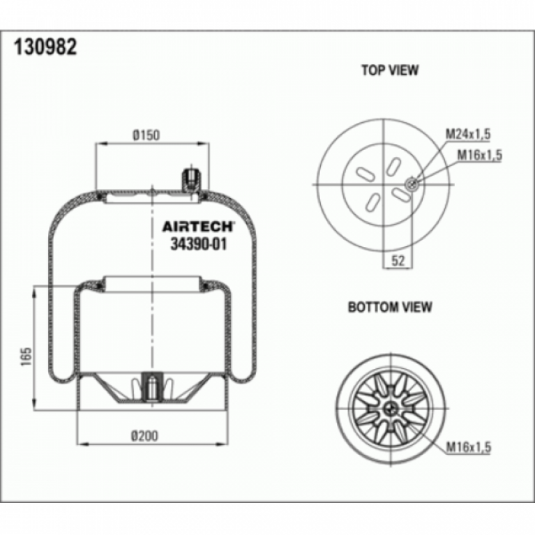 Пневмоподушка со стаканом MB Actros 1шп-штуц.M16/24x1.5 Поршень сталь 1отв.M16x1.5 3439001K