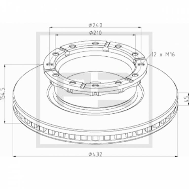 Тормозной диск передний 432/154.5x45/210 12n с отверстием датчика ABS IVECO Stralis/Ивеко Стралис PE