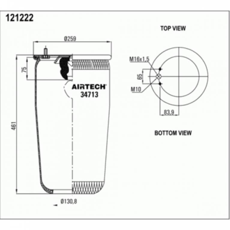 Пневморессора для Вольво FM/FL/FH10/12 без стакана. 2шп.M10 смещ.84 1отв-шт.M16 Н:отв.D130.8