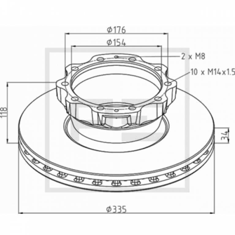 Тормозной диск 335x176x154 H118 n10x14+28 MAN TGA 036.12500A