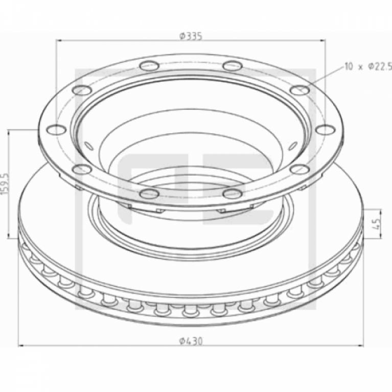 Тормозной диск 430/290x45/159.5 10n-335-23 вент, без крепл. ротора ABS суппорт SB(Knorr) BPW 046.38400A