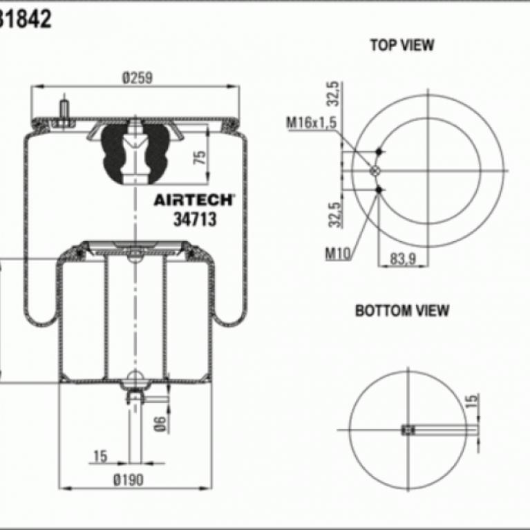 Пневморессора Вольво FM/FL/FH10/12 со стаканом. 2шп.M10 смещ.84 1отв-шт.M16 Поршень металл вилка AIRTECH34713K