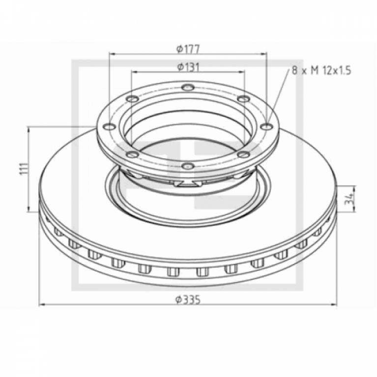 Тормозной диск 335x34/111 8xM12x1.5 MB ATEGO/AXOR 2 016.66300A 016.66300A