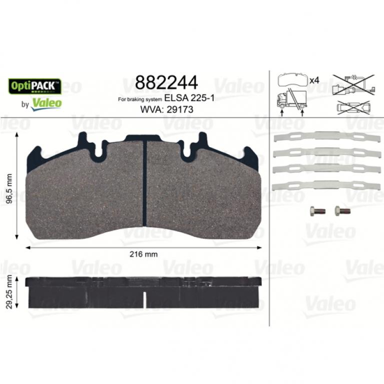 Тормозные колодки дисковые 29.25x216x96.5 ELSA 225-1 RVI Magnum/Premium/Midlum,Volvo FL 882244 VALEO VALEO