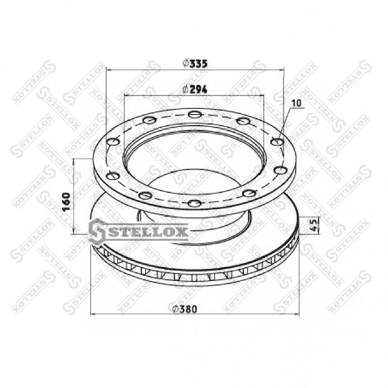 Тормозной диск 377 /x45/169.5 10n-335-M23 BPW SB3745T EcoPlus 8500807SX