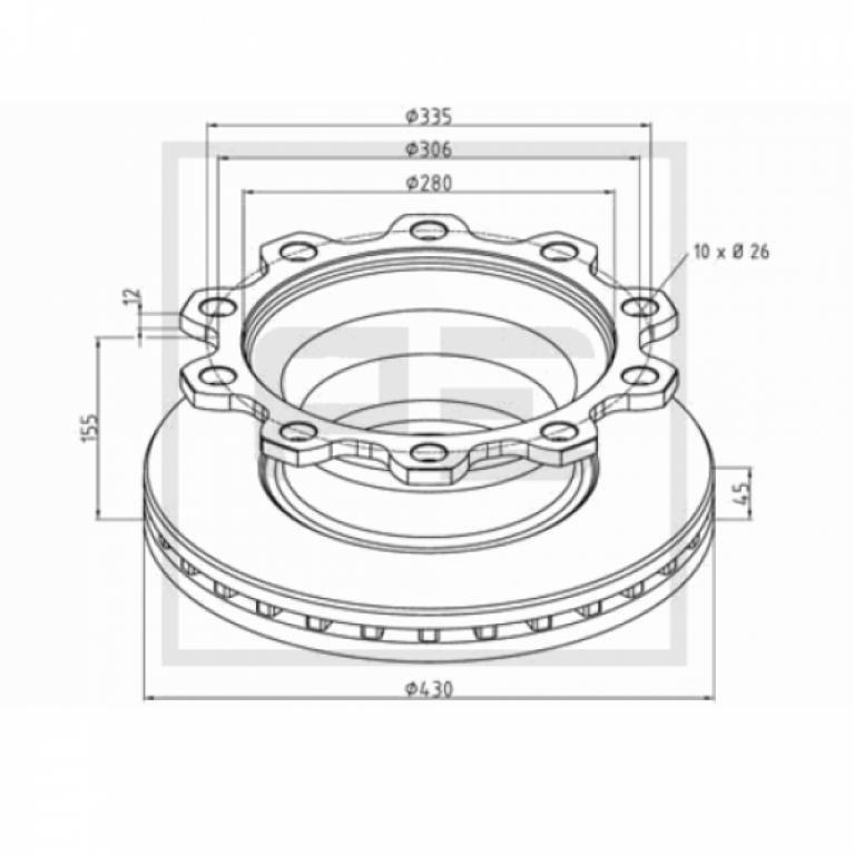 Тормозной диск 430/280x45/155 10n-335-d Acerbi,SMB 186.10000A 186.10000A