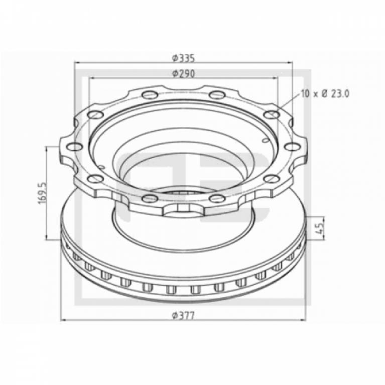 Тормозной диск 377x45/169.5 10n-335-M23 BPW SKH Eco SB3745 046.37700A 046.37700A